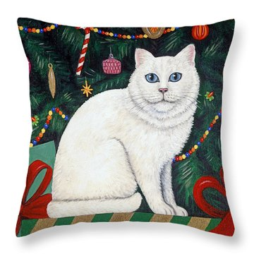 Snow Flake The Cat Throw Pillow by Linda Mears