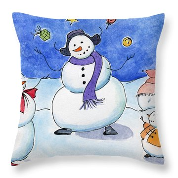 Snow Folks - Family Time. Throw Pillow by Katherine Miller