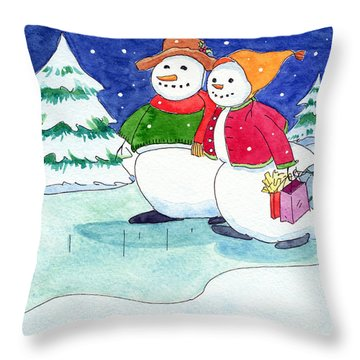 Snow Folks - Shoppers Throw Pillow by Katherine Miller