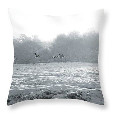 Snow And Geese Throw Pillow