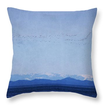 Throw Pillow featuring the photograph Snow Geese Over The Ocean by Peggy Collins