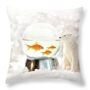 Snow Globe In  Winter Scene Throw Pillow by Sandra Cunningham