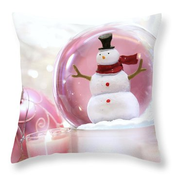 Snow Globe With Pink  Balls  Throw Pillow by Sandra Cunningham
