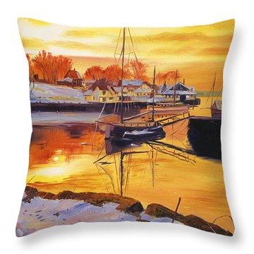 Snow Harbor Throw Pillow