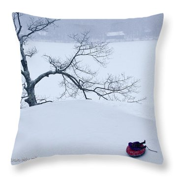 Snow Hill Ride Throw Pillow