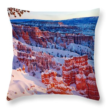 Snow In Bryce Canyon National Park Throw Pillow by Panoramic Images