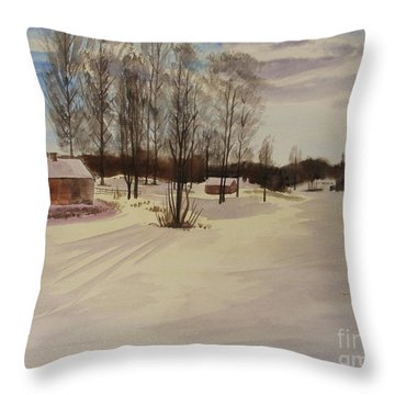 Throw Pillow featuring the painting Snow In Solbrinken by Martin Howard