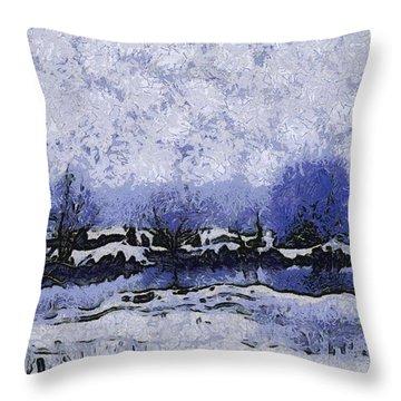 Snow In Texas Van Gogh Style Throw Pillow by Lorri Crossno