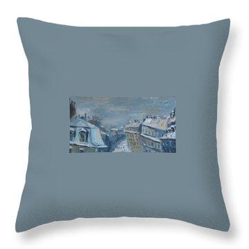 Snow Is Paris Throw Pillow by NatikArt Creations