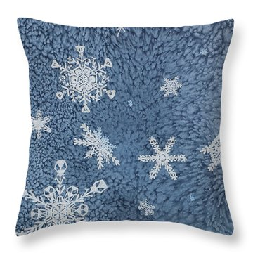 Throw Pillow featuring the painting Snow Jewels by Margaret Bobb