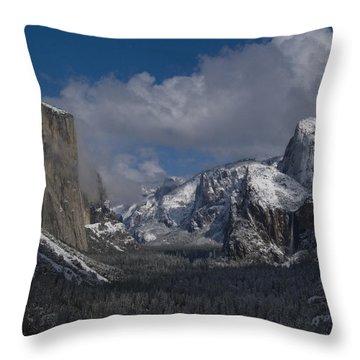 Snow Kissed Valley Throw Pillow