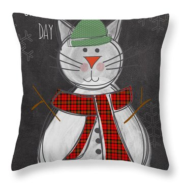 Snow Kitten Throw Pillow by Linda Woods