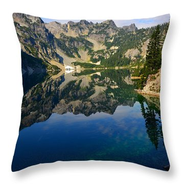 Snow Lake Reflections Throw Pillow by Jane Axman