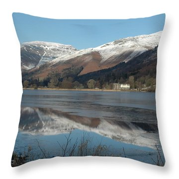 Snow Lake Reflections Throw Pillow by Kathy Spall