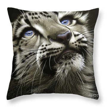 Snow Leopard Cub Throw Pillow by Jurek Zamoyski