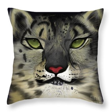 Snow Leopard - The Eyes Have It Throw Pillow