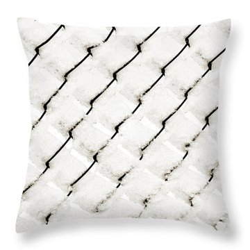 Snow Link Fence Throw Pillow by Andee Design