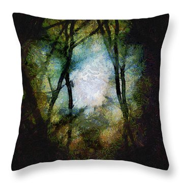 Snow Moon Embrace Throw Pillow by RC deWinter