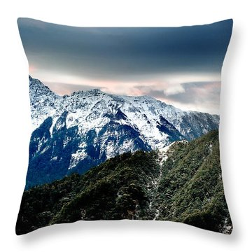 Snow Mountain Throw Pillow by Yew Kwang