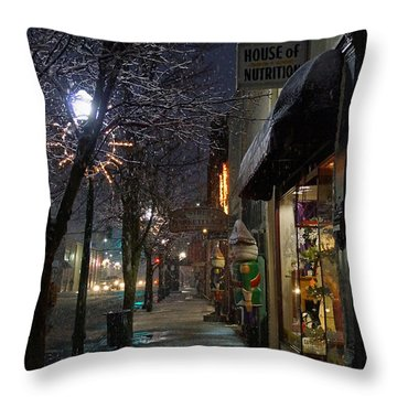 Snow On G Street 3 - Old Town Grants Pass Throw Pillow by Mick Anderson