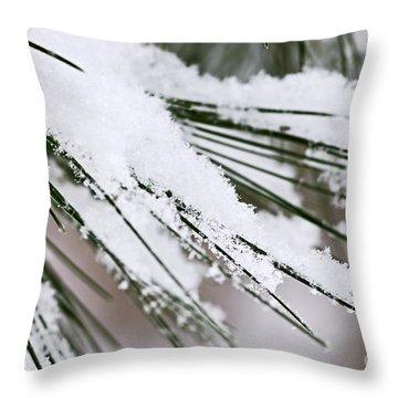Snow On Pine Needles Throw Pillow by Elena Elisseeva