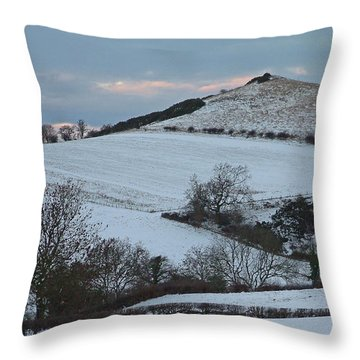 Snow On The Hill Throw Pillow by John Topman