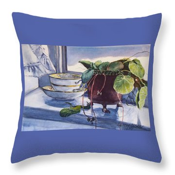 Throw Pillow featuring the painting Snow Outside The Window by Joy Nichols
