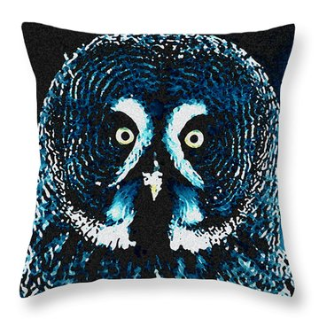 Throw Pillow featuring the painting Snow Owl by Colette V Hera  Guggenheim