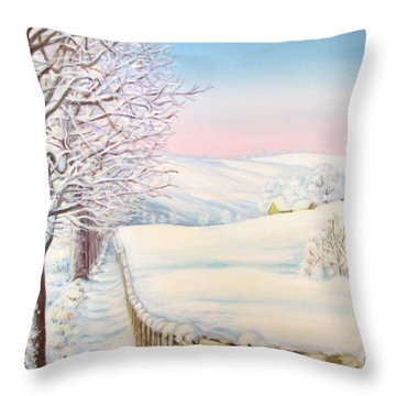 Throw Pillow featuring the painting Snow Path by Inese Poga