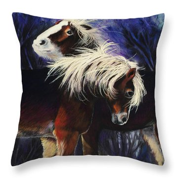 Snow Ponies Throw Pillow
