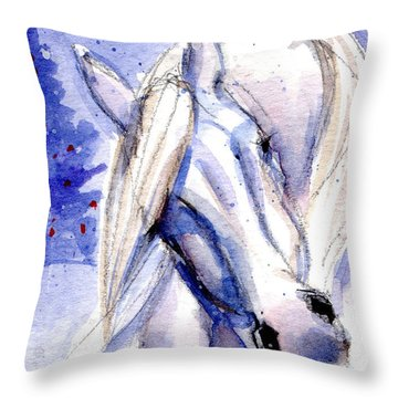 Snow Pony 1 Throw Pillow
