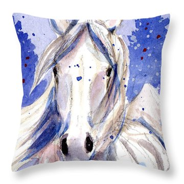 Snow Pony 2 Throw Pillow