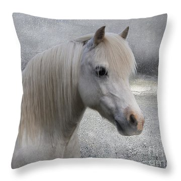 Snow Pony Throw Pillow by Linda Lees