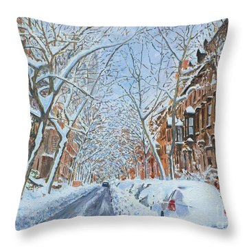 Snow Remsen St. Brooklyn New York Throw Pillow by Anthony Butera