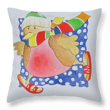 Snow Robin Throw Pillow by Tony Todd