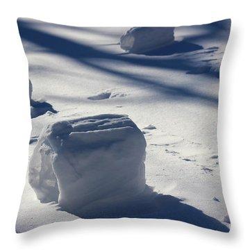 Snow Roller Trio In Shadows Throw Pillow