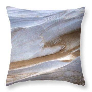 Snow Sand Swirl Throw Pillow by Kathi Mirto
