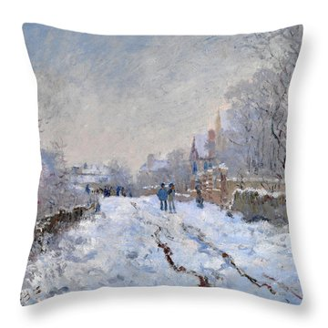 Snow Scene At Argenteuil Throw Pillow
