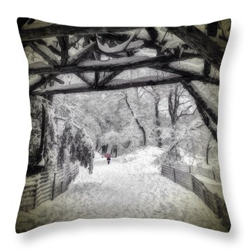 Snow Scene In Central Park Throw Pillow
