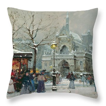 Snow Scene In Paris Throw Pillow by Eugene Galien-Laloue