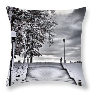 Snow Stairs Throw Pillow by Steven Reed