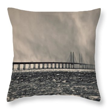 Snow Storm Out At Sea Throw Pillow