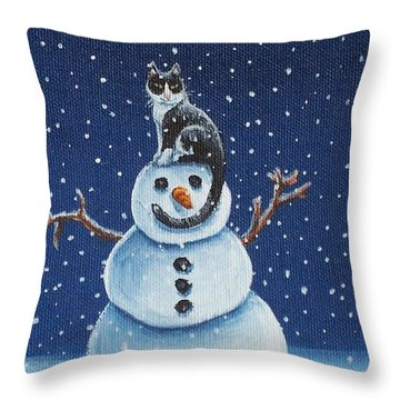 Snow Stormie Throw Pillow by Beth Clark-McDonal