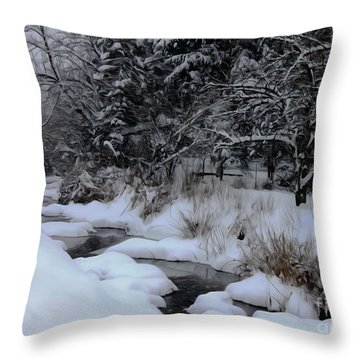 Snow Stream Throw Pillow by Erica Hanel