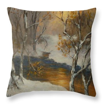Snow Sunset Paintings Throw Pillow