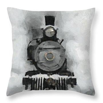 Snow Train Throw Pillow