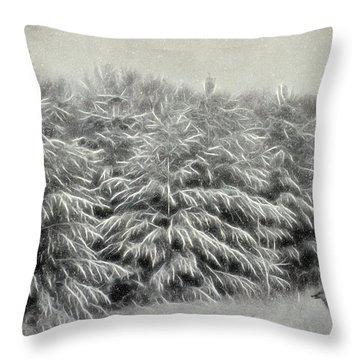Snow Trees And Fox Textured Throw Pillow