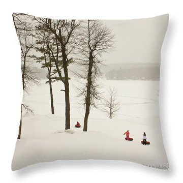 Snow Tubing In The Poconos Throw Pillow by Ann Murphy