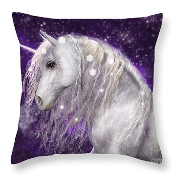 Snow Unicorn With Purple Background Throw Pillow