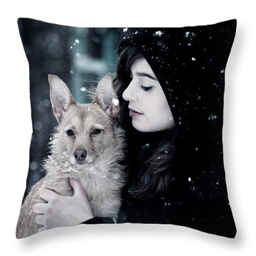 Snow Walk Throw Pillow by Cambion Art